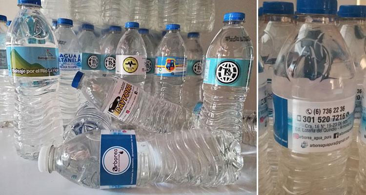 Agua en botella personalizada Arbórea, quindianos pensando en las empresas quindianas