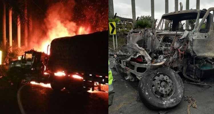 Choque tractomulas causó incendio en vía Armenia - Barcelona
