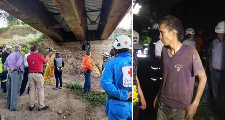 tres días atrapado en rieles del puente helicoidal de Calarcá
