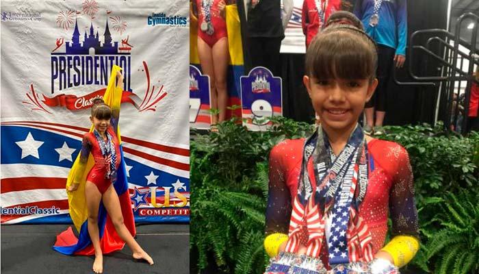 5 medallas niña quindiana Gimnasia Estados Unidos