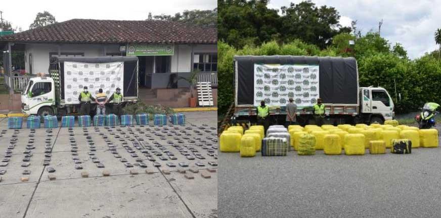 769 kilos marihuana ocultos en alimentos Calarcá y Tebaida