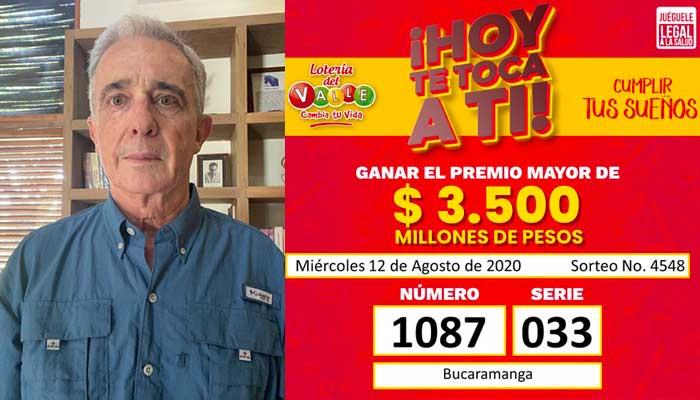 No es broma, número de reseña de Uribe preso cayó con la lotería del Valle