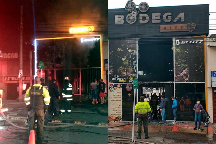 Grave incendio en almacén de biciletas en Armenia este 24 de diciembre